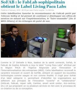 Label SoFAB dans WebTimeMedias février 2016