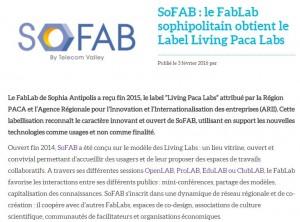 Label SoFAB dans MediaTic Info février 2016